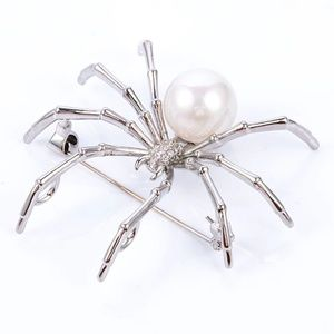 SPIDER BROOCH SILVER &  WHITE PEARL BEAD